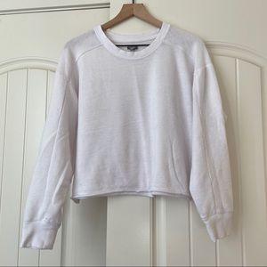 aerie Soft White Cropped Sweatshirt
